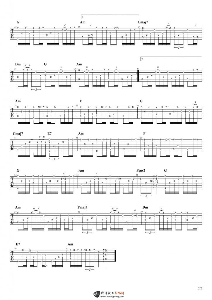 暗里着迷指弹吉他谱-2
