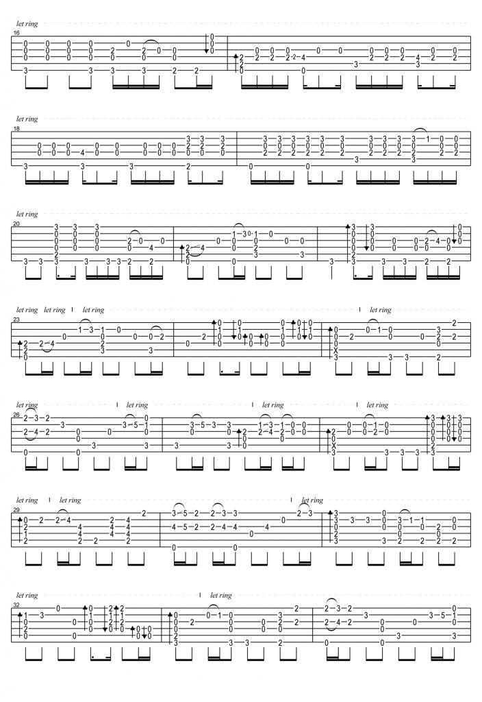 周杰伦《晴天》吉他指弹谱-2