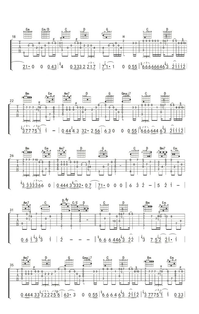 南山南指弹谱 吉他独奏谱-2