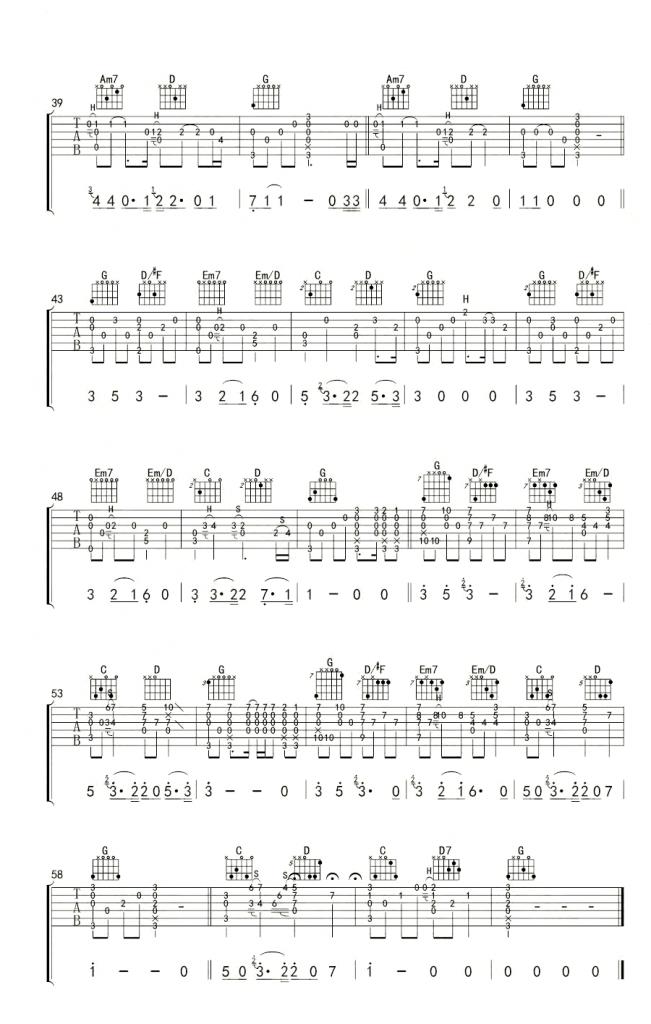南山南指弹谱 吉他独奏谱-3