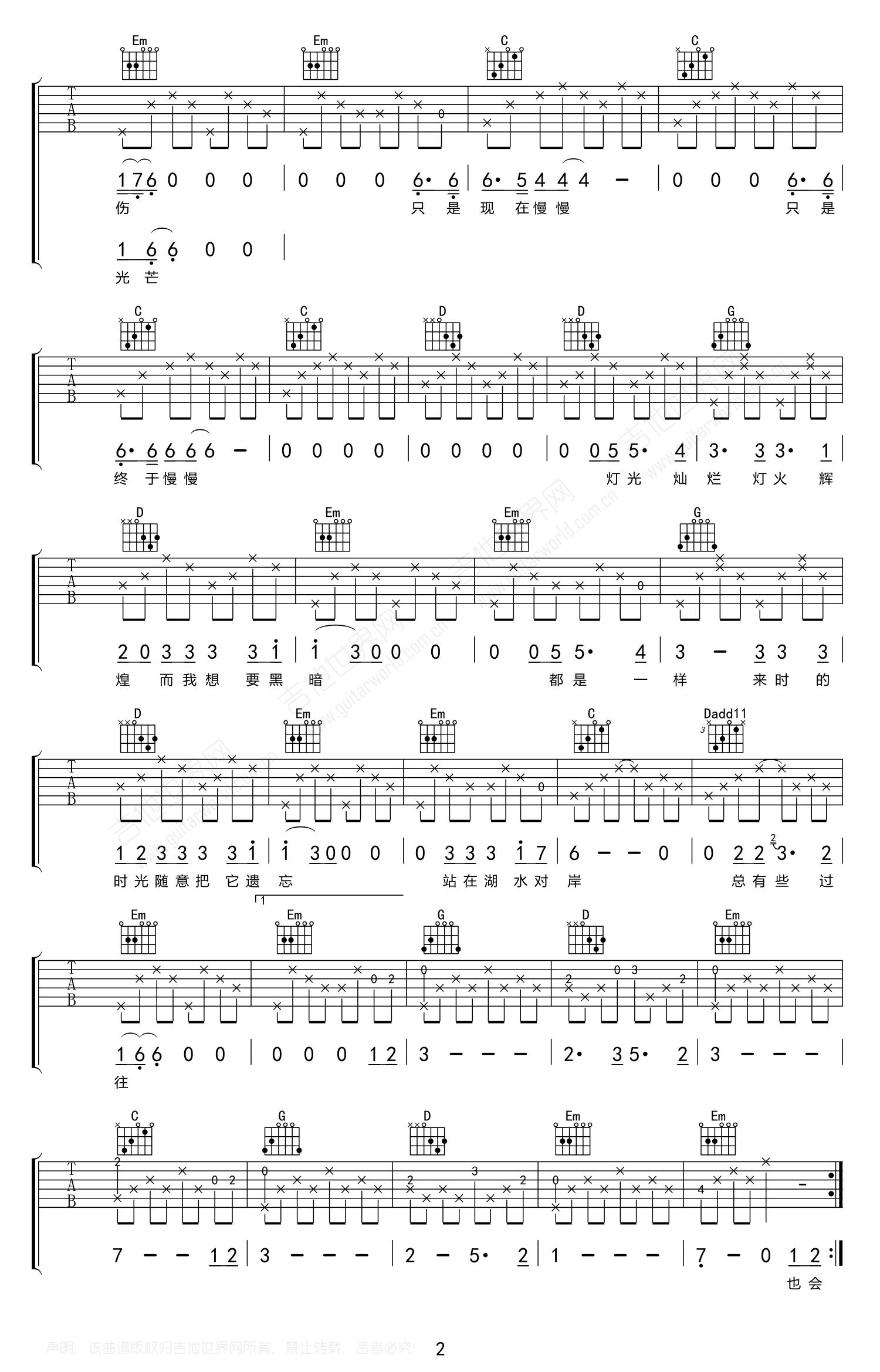 泸沽湖吉他谱 麻园诗人-2