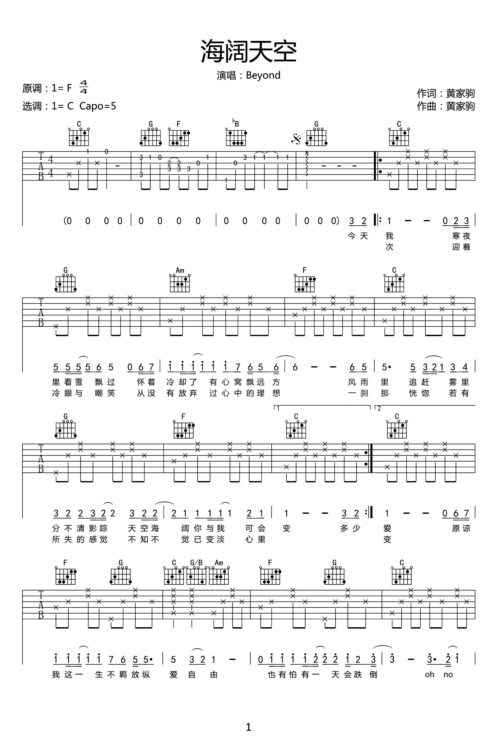 海阔天空吉他谱 Beyond-1