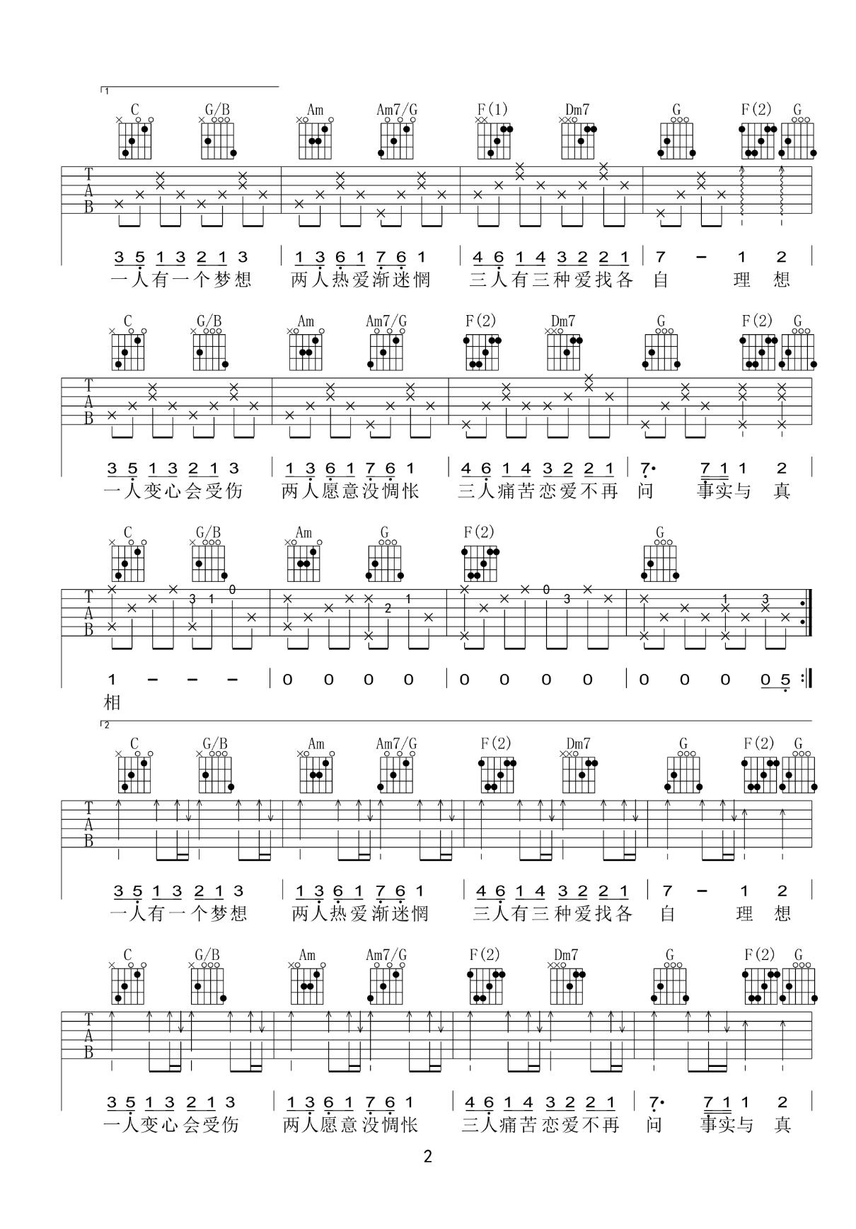 黎瑞恩-一人有一个梦想吉他谱2