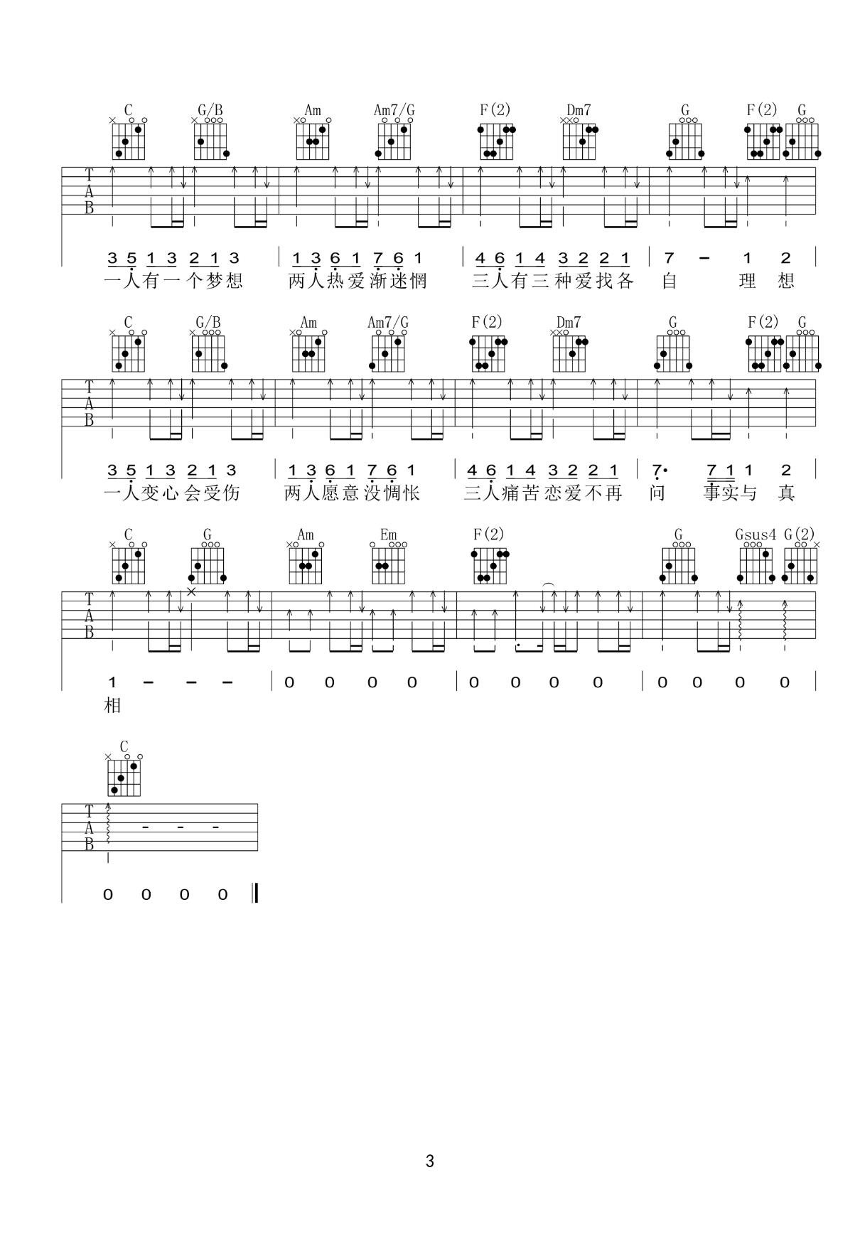 黎瑞恩-一人有一个梦想吉他谱3