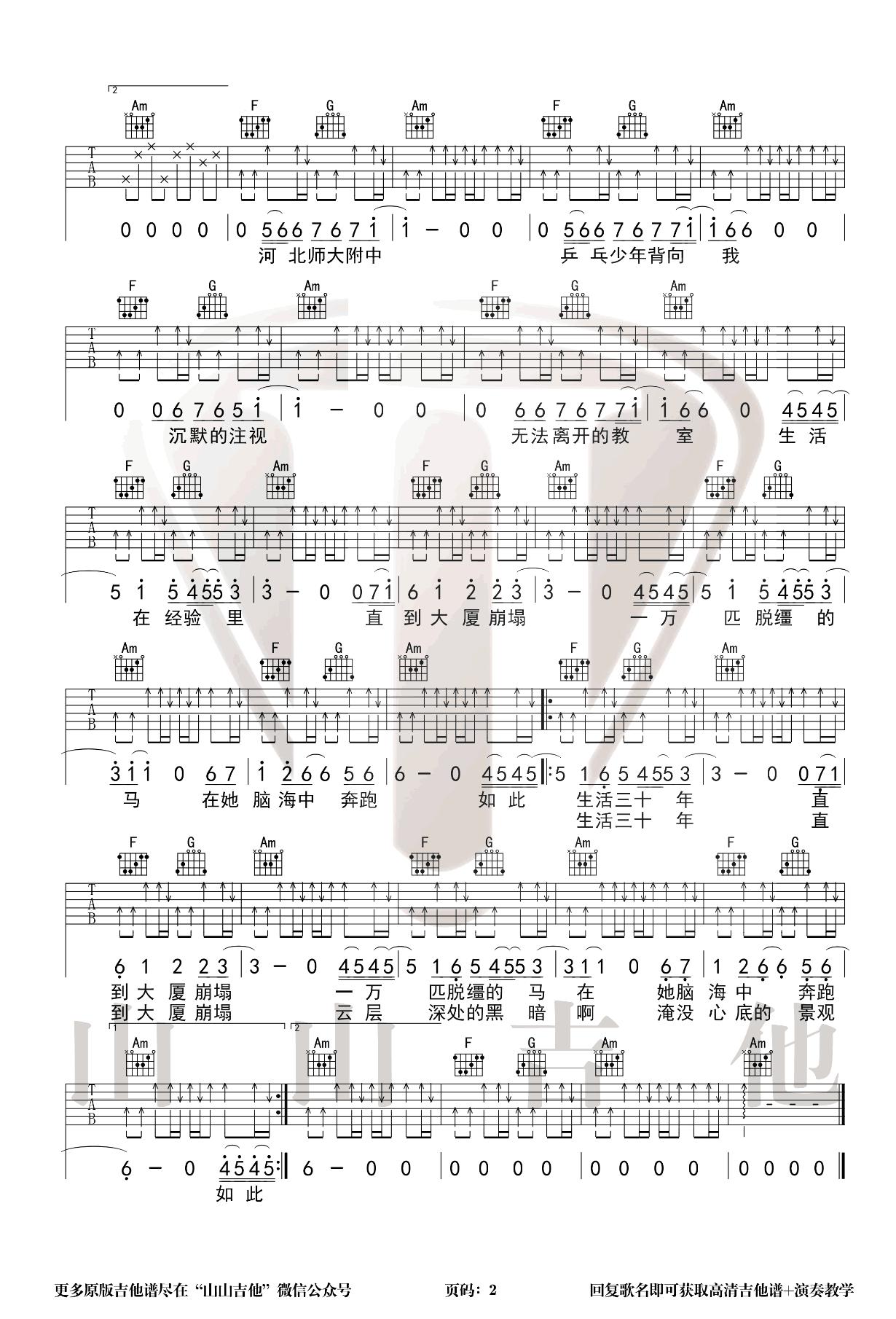 万青旅店-杀死那个石家庄人吉他谱 弹唱教学2