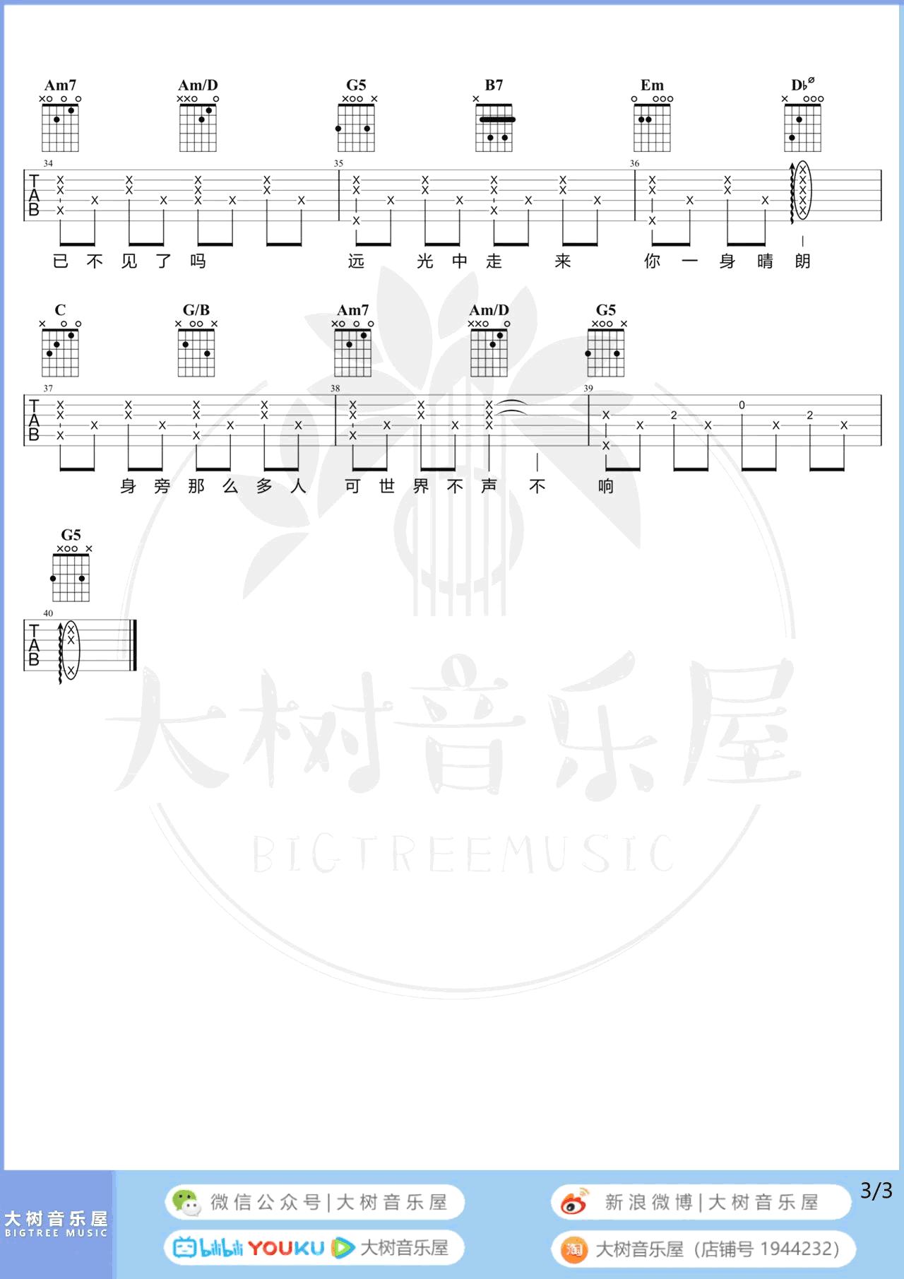 莫文蔚-这世界那么多人吉他谱 弹唱教学-3