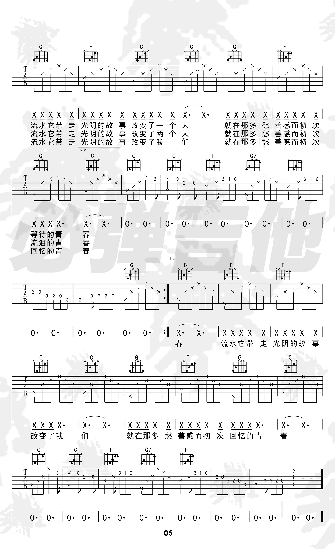 罗大佑《光阴的故事》吉他谱-2