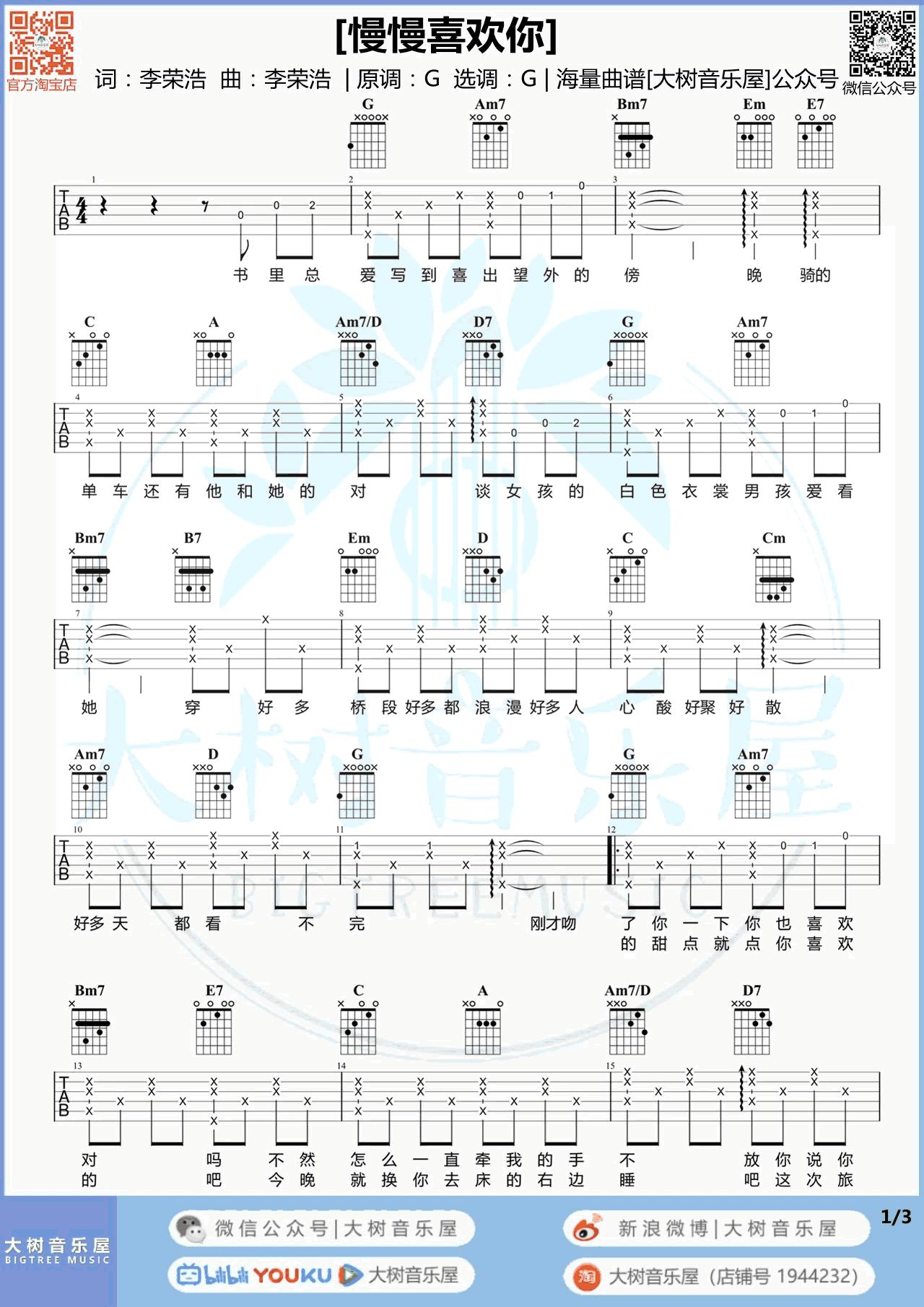 莫文蔚-慢慢喜欢你吉他谱-弹唱教学1
