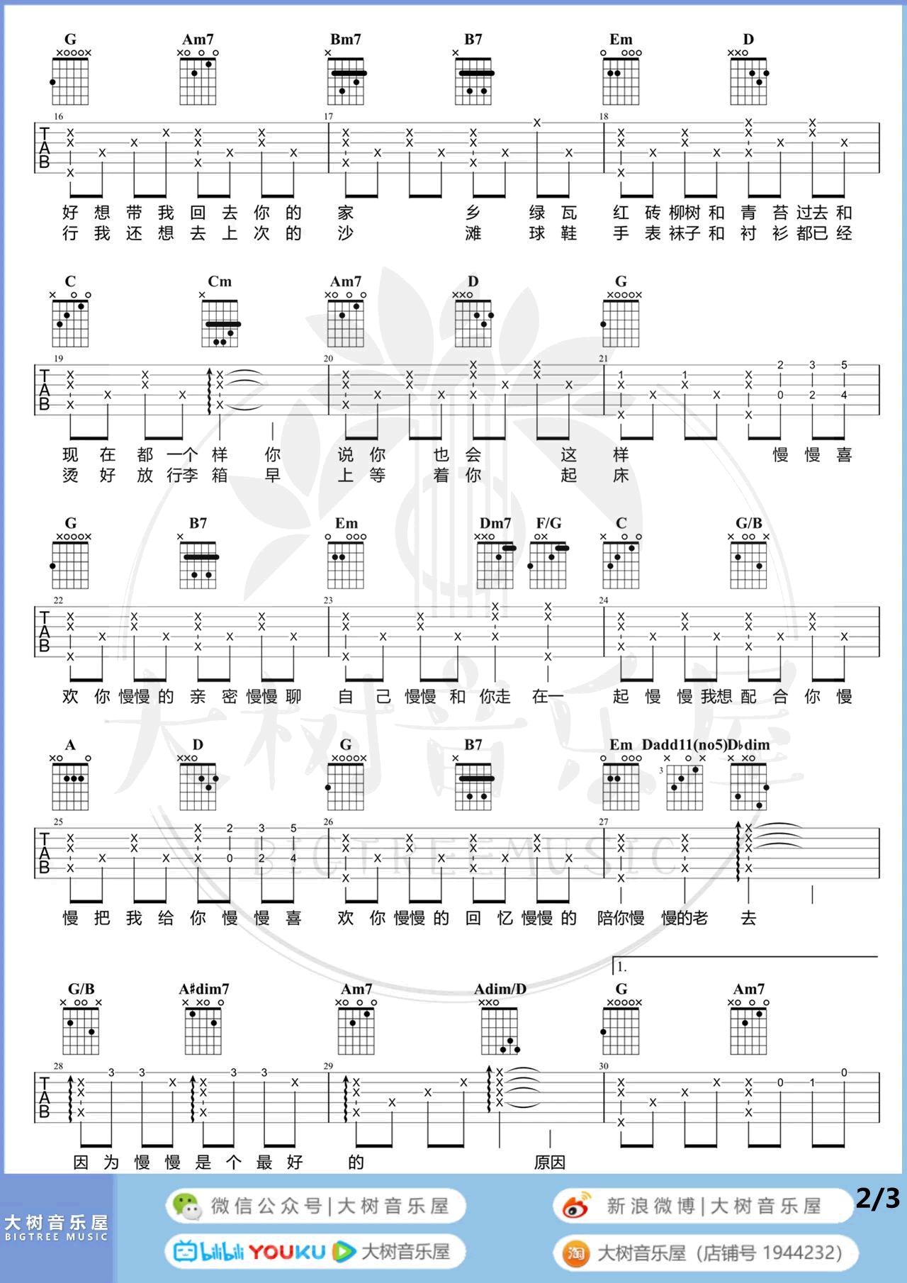 莫文蔚-慢慢喜欢你吉他谱-弹唱教学2