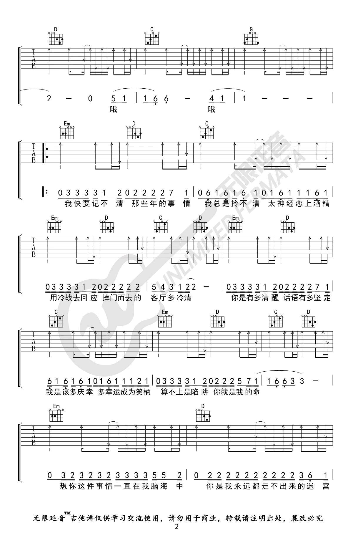 想你这件事吉他谱-许佳豪-2