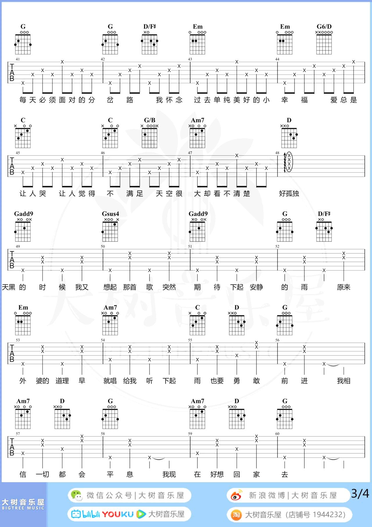孙燕姿-天黑黑吉他谱-弹唱教学3