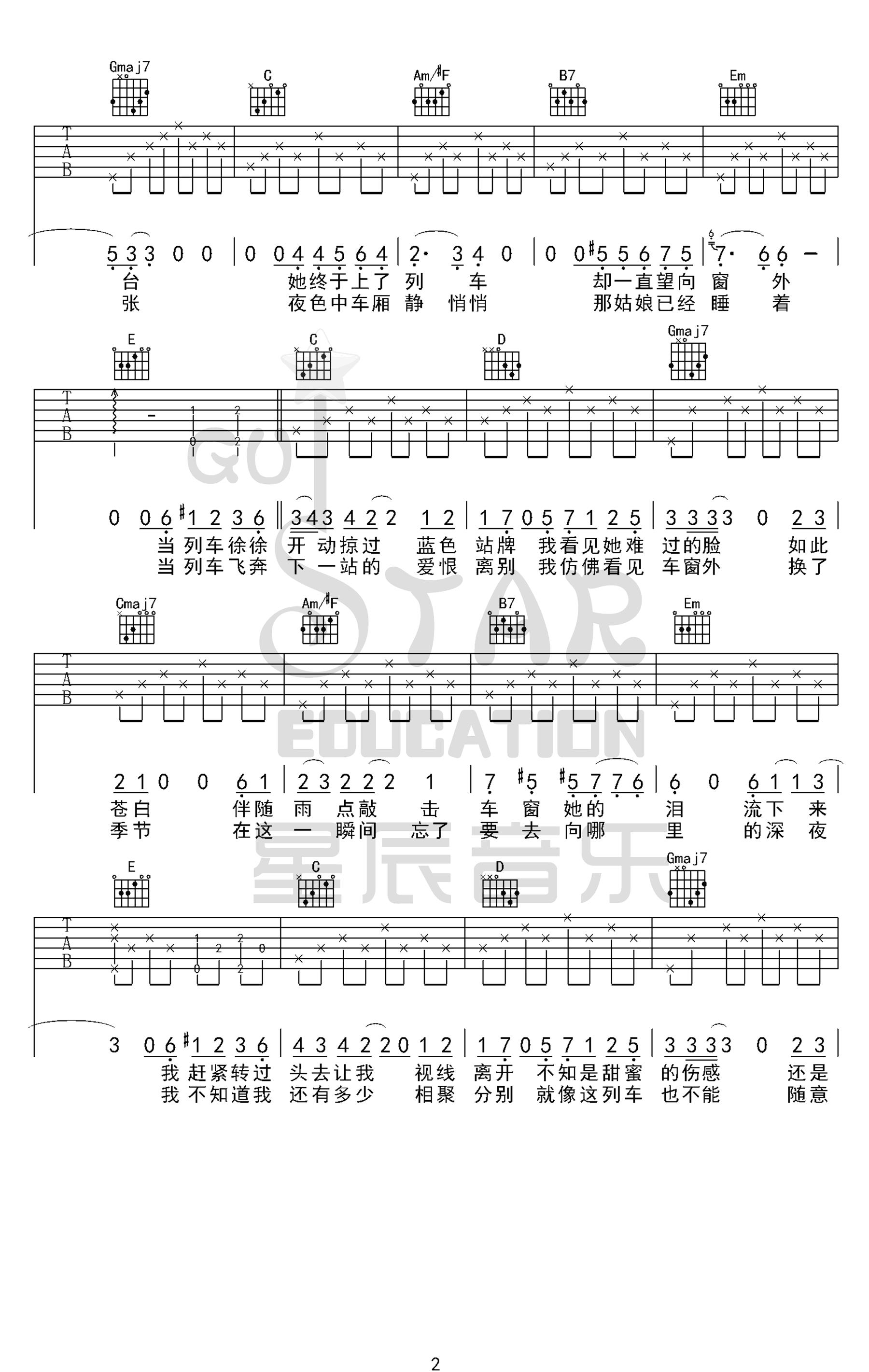 李健-车站吉他谱-原版六线谱-2