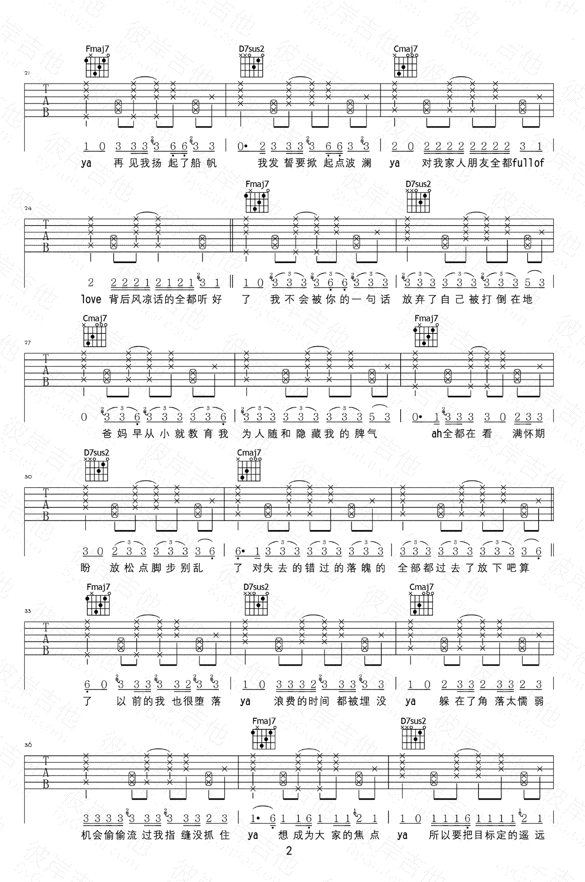 大籽《放空》吉他谱-2