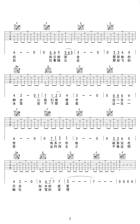 李健-贝加尔湖畔吉他谱-2
