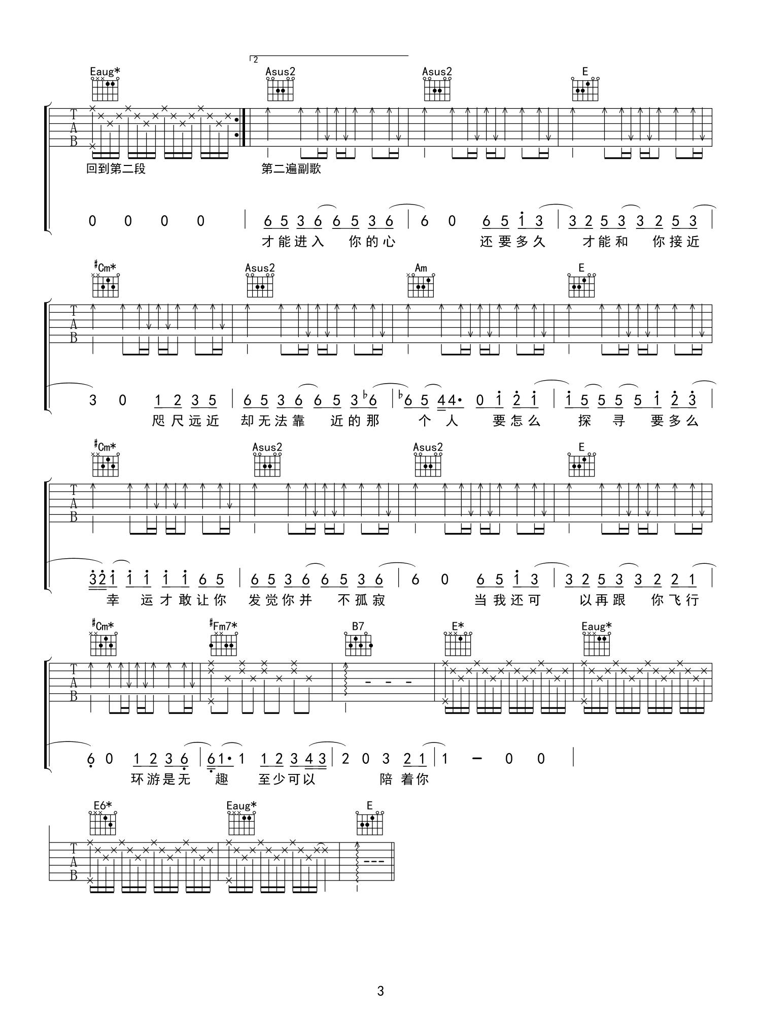 水星记吉他谱简单版_郭顶-3