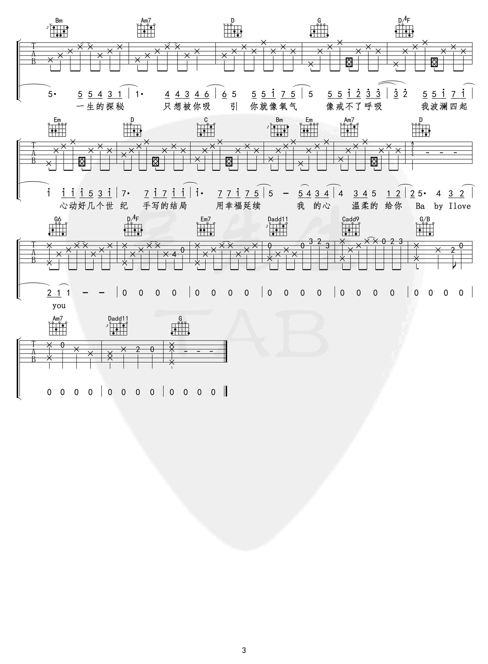 小蓝背心-目及皆是你吉他谱-3