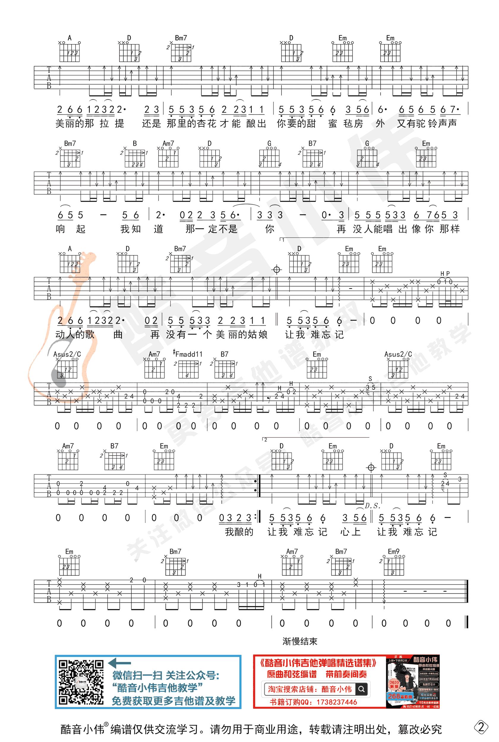 王琪-可可托海的牧羊人吉他谱-原版弹唱教学-2
