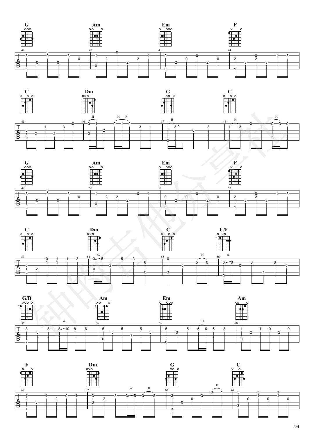 千与千寻指弹吉他谱-独奏演示视频-3