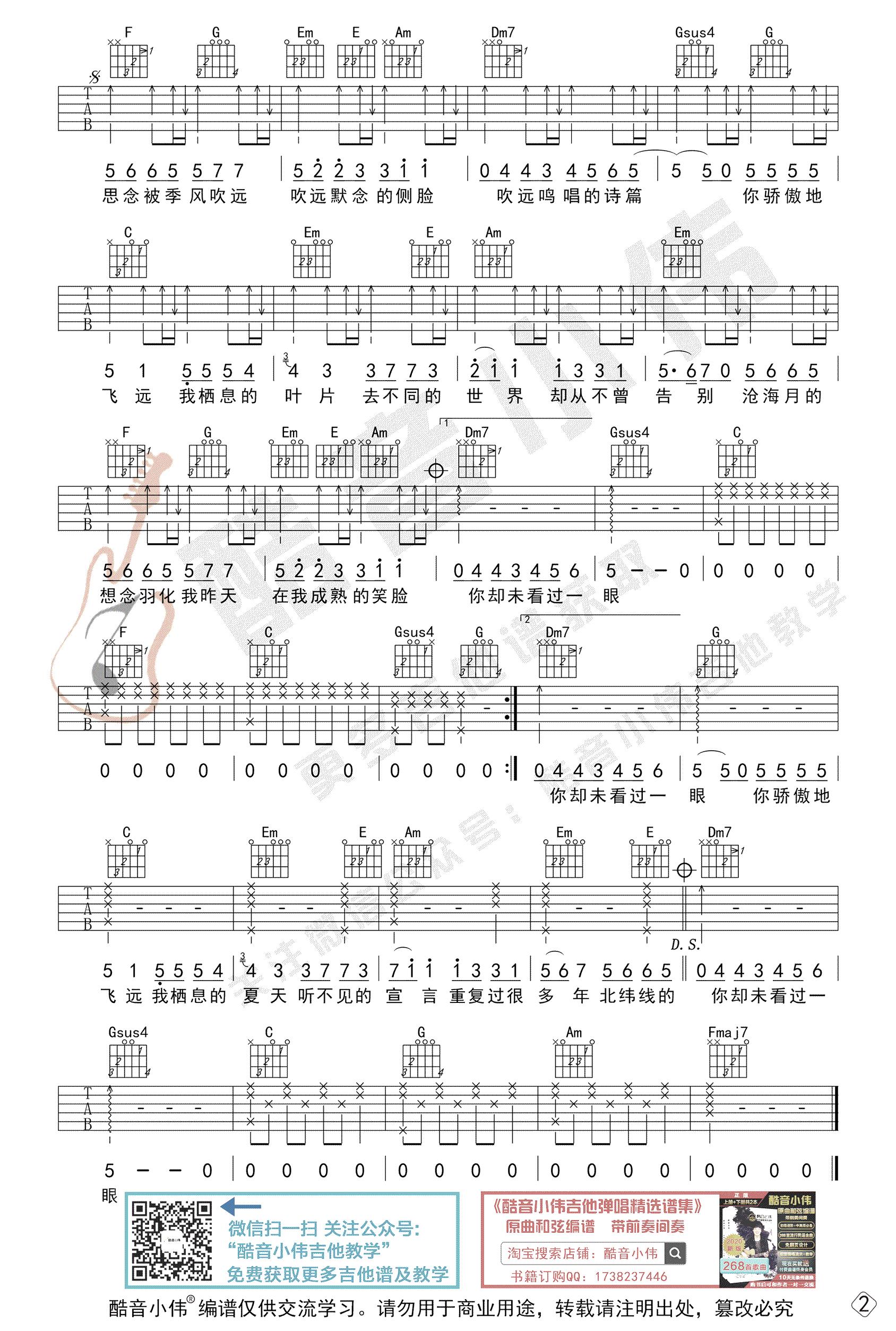 飞鸟和蝉吉他谱-任然-C调初级版-2