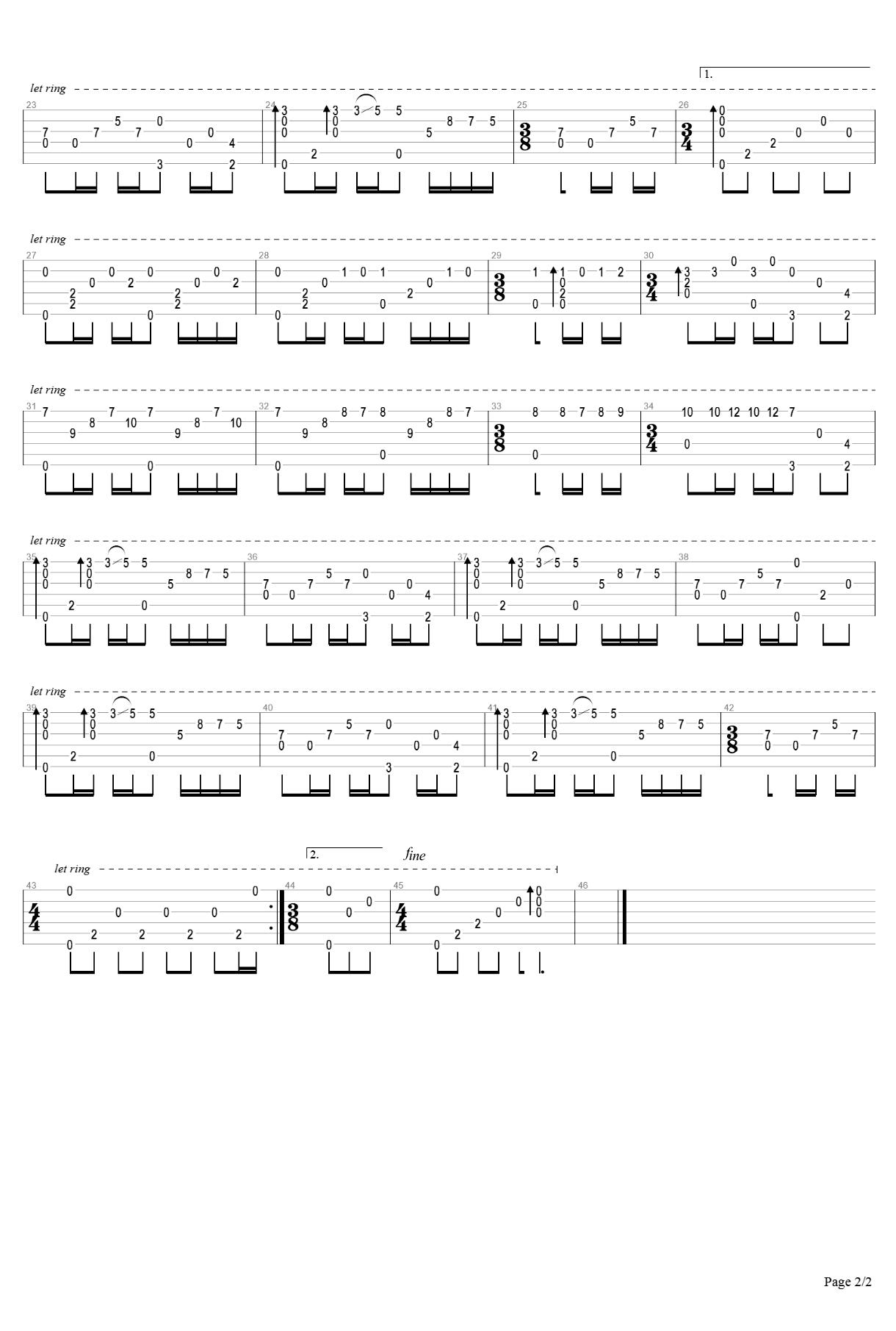 梦中的婚礼吉他谱 指弹独奏谱-2