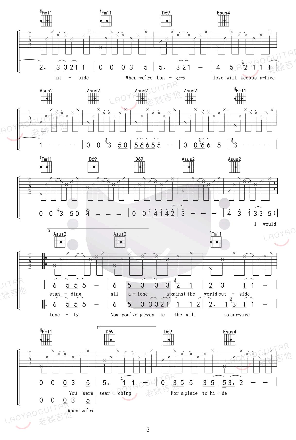 love will keep us alive吉他谱-老鹰乐队-3
