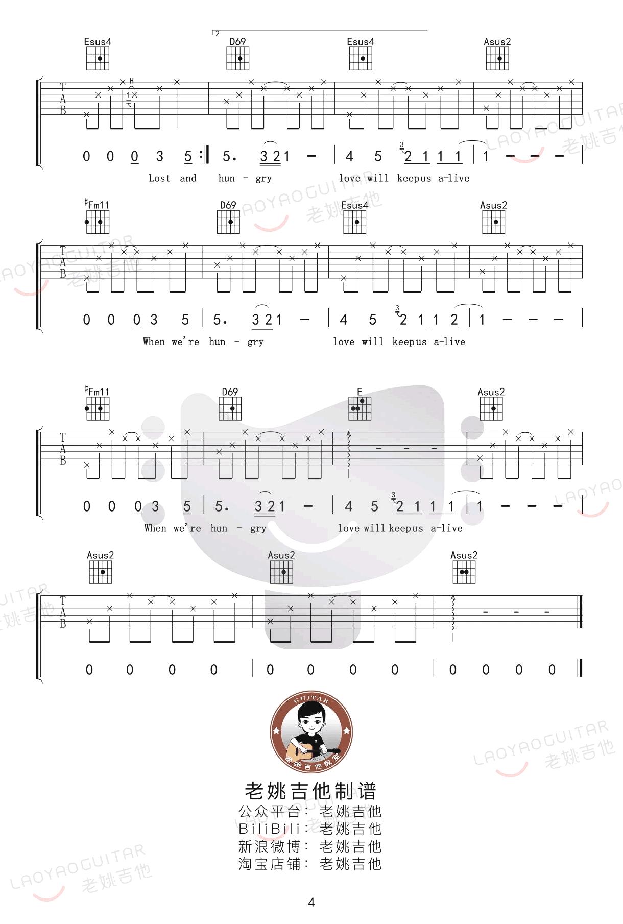 love will keep us alive吉他谱-老鹰乐队-4