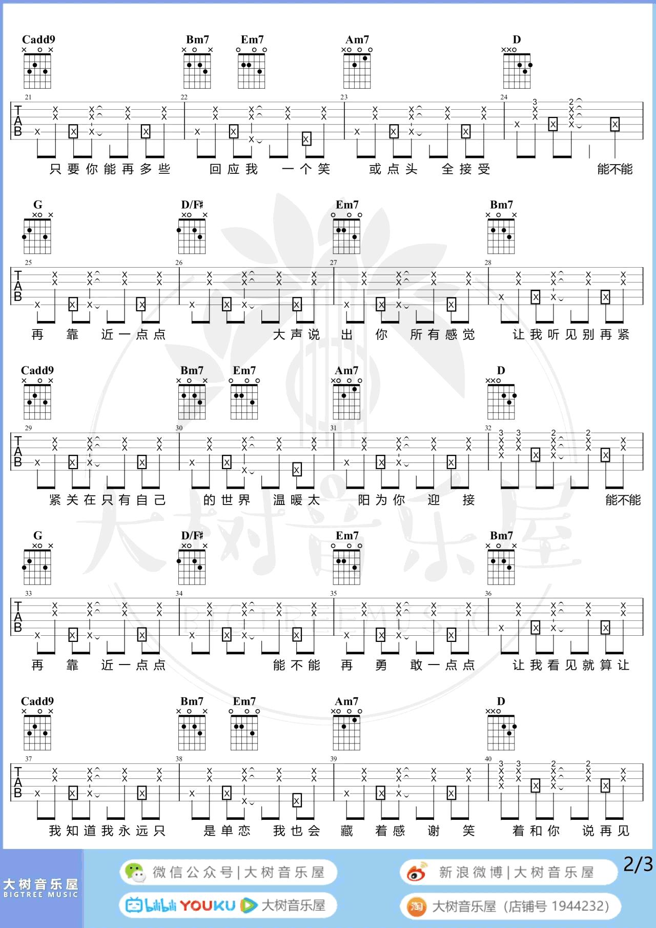 梁心颐《靠近一点点》吉他谱-弹唱教学-2