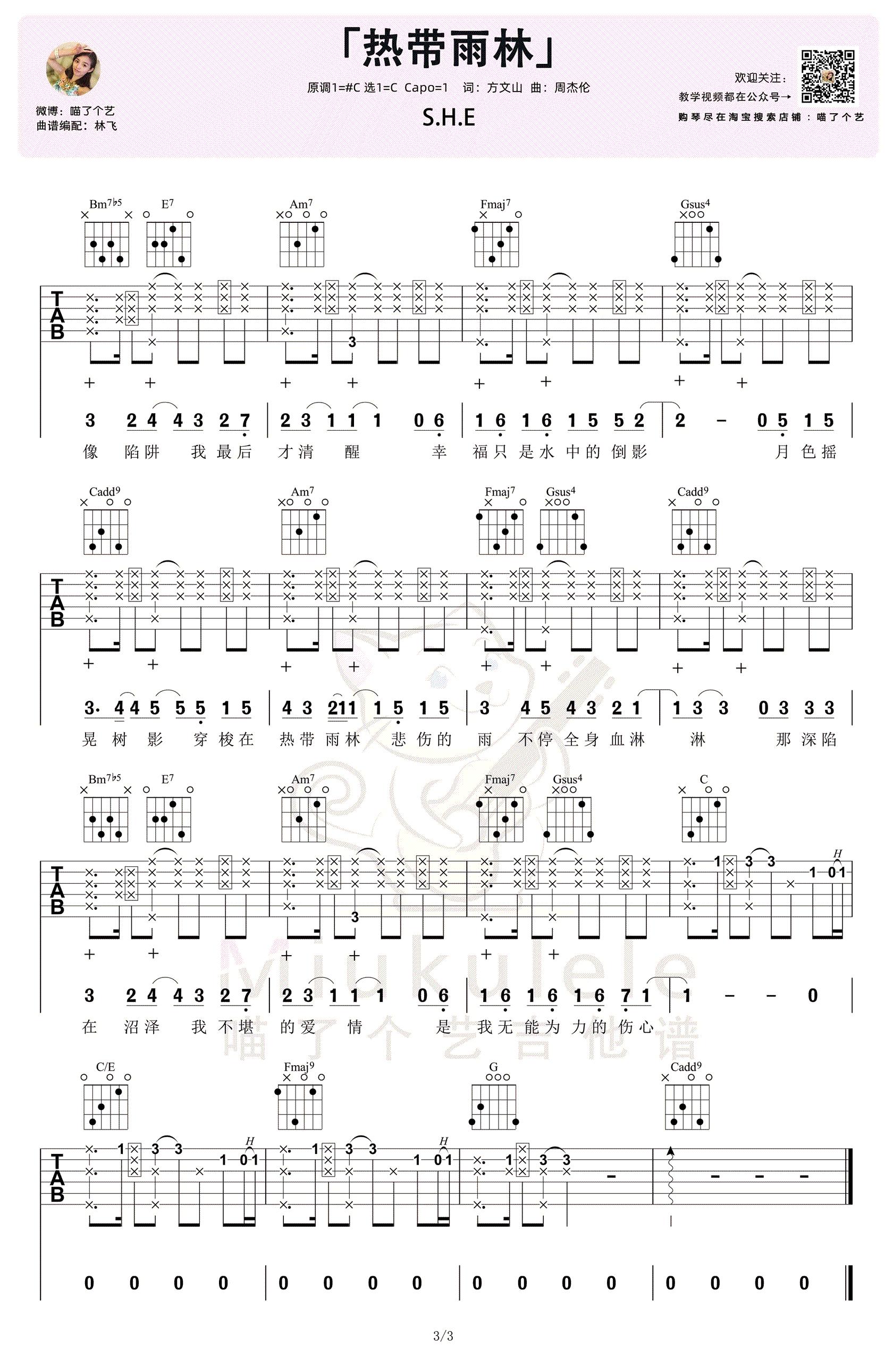SHE-热带雨林吉他谱-弹唱教学-3