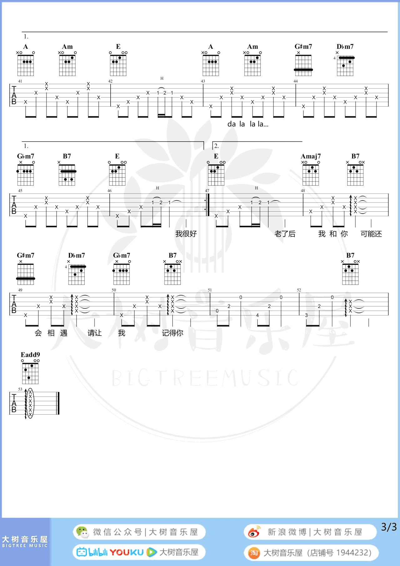 袁娅维-旅行中忘记吉他谱-弹唱教学-3