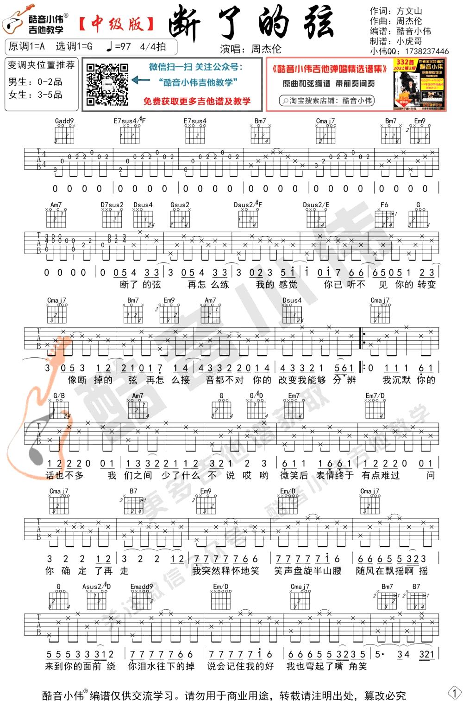 周杰伦《断了的弦吉他谱》弹唱教学-1
